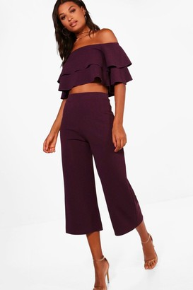boohoo Double Tube Top And Culotte Two-Piece Set