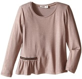 Junior Gaultier Long Sleeves Tee Shirt with Zipper Detail Girl's Dress