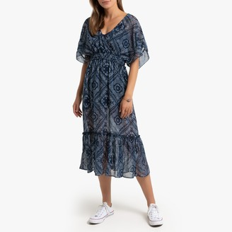 Pepe Jeans Paisley Print Midi Dress with Short Sleeves