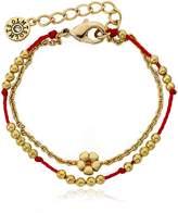 "Little Miss Twin Stars Friends Forever 14k Gold-Plated Beads & Flower Center Red Chord 2 Strand Bracelet/ 4.5""/1"" Ext."