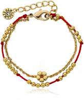"Little Miss Twin Stars Friends Forever 14k Gold-Plated Beads & Flower Center Red Chord 2 Strand Bracelet/ 5.5""/1"" Ext."