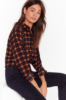 Nasty Gal Womens Tie Our Love Check Cropped Shirt - brown - S