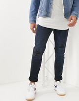 Celio slim jeans with distress in black/blue