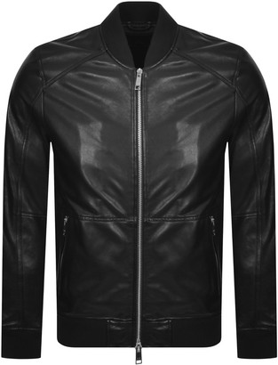 Armani Exchange Leather Bomber Jacket Black