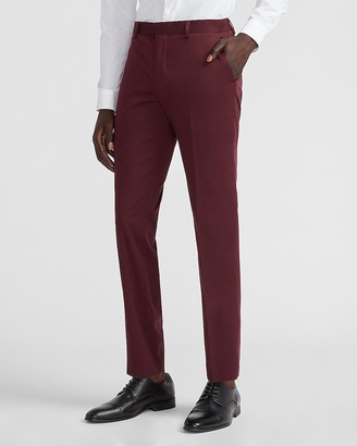 Express Slim Solid Burgundy Cotton Sateen Suit Pant