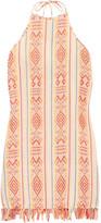 Miguelina Palma Fringed Cotton Mini Dress - Peach