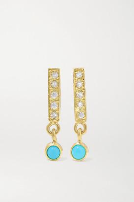 Jennifer Meyer 18-karat Gold, Diamond And Turquoise Earrings - one size
