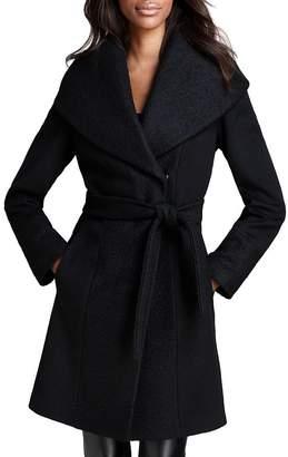 Calvin Klein Color-Blocked Wool-Blend Wrap Coat