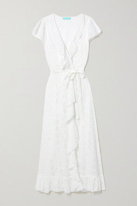 Melissa Odabash Brianna Belted Ruffled Broderie Anglaise Cotton Wrap Maxi Dress - White