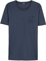 Balmain Navy Embroidered Cotton T-shirt