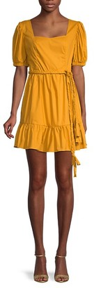 ENGLISH FACTORY Belted Puff-Sleeve Flare Dress