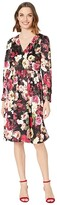 Calvin Klein Long Sleeve Floral Print A-Line Dress (Black Multi) Women's Dress