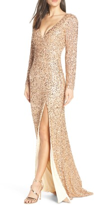 Mac Duggal Sequin Long Sleeve Slit Column Gown