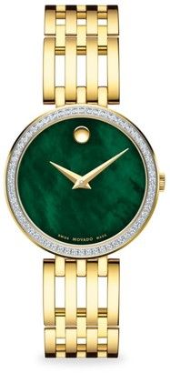 Movado Goldplated, Diamond & Mother-Of-Pearl Bracelet Watch