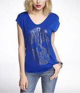 Express Scoop Neck Dolman Graphic Tee - Foiled Skull