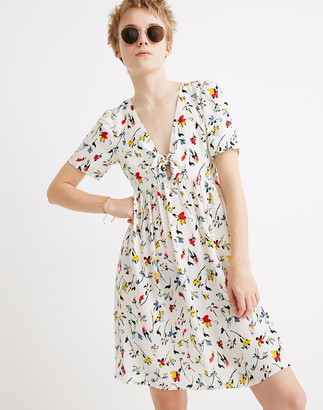 Madewell Tie-Front Mini Dress in Drifting Flowers