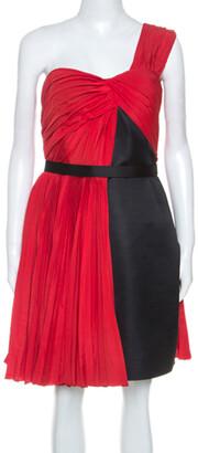 Jason Wu Red Crepe Pleated One Shoulder Dress L
