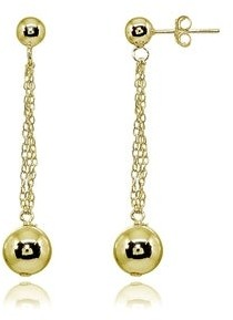 Mondevio High Polished Double Bead Drop Dangle Stud Earrings in Sterling Silver