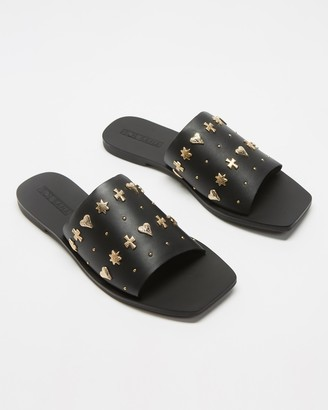 Sol Sana Women's Black Flat Sandals - Mila Stud Slides - Size 36 at The Iconic