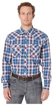 Wrangler 20X Long Sleeve Snap Plaid (Navy/Coral) Men's Clothing