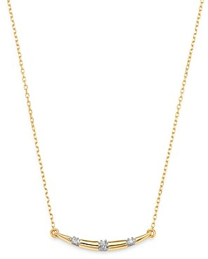 Adina Reyter 14K Yellow Gold Pave Diamond Curved Bar Pendant Necklace, 16