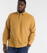 Asos Design DESIGN Plus rugby style ovehead cord shirt in mustard