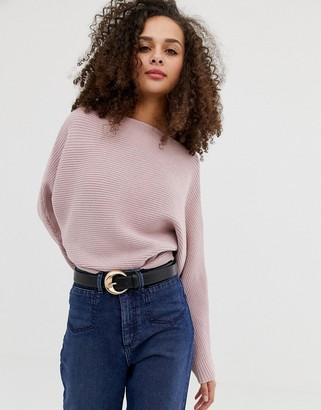 Asos DESIGN off shoulder sweater in ripple stitch