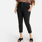 La Redoute Collections Plus Cotton Zip-Front Trousers with Mesh Waistband, Length 25.5""