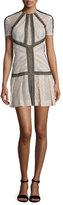 J. Mendel Short-Sleeve Striped Lace Dress, Blush/Black