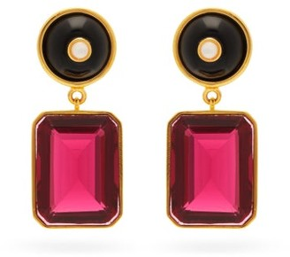 Lizzie Fortunato Ruby Tourmaline And Gold-plated Drop Earrings - Ruby