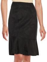T Tahari Faux Suede Flounce Skirt