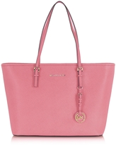 Michael Kors Jet Set Travel Misty Rose Saffiano Leather Top Zip Tote