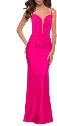 La Femme Le Femme Neon Pink Ruched Jersey Gown