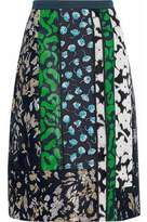Oscar de la Renta Metallic Paneled Cotton-Blend Brocade Skirt