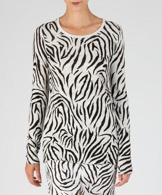 Atm Slub Jersey Long Sleeve Destroyed Wash Tee - Champagne/ Pavement Zebra