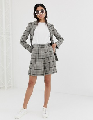 ASOS DESIGN mom suit shorts in check with burgundy