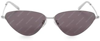 Balenciaga 61MM Silvertone Narrow Sunglasses