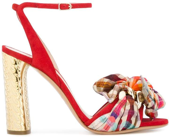 Casadei Checked Bow-Embellished Sandals