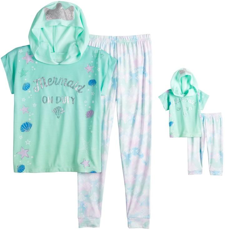 Cuddl Duds Girls 4-10 2-Piece Pajama Set with Matching 2-Piece Doll Pajamas