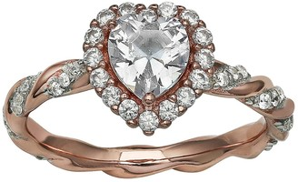 PRIMROSE 18k Rose Gold over Sterling Silver Two-Tone Cubic Zirconia Ring