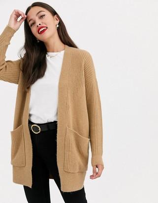 Miss Selfridge longline cardigan in camel-Tan