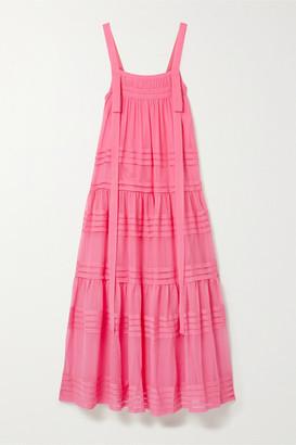 Lee Mathews Tiered Silk-chiffon Maxi Dress - Pink