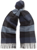 Ermenegildo Zegna Fringed Checked Silk Scarf
