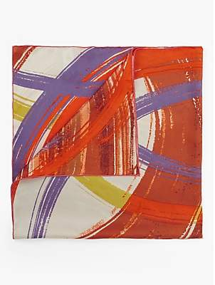 Fraas Swirl Print Square Silk Scarf, Orange Mix