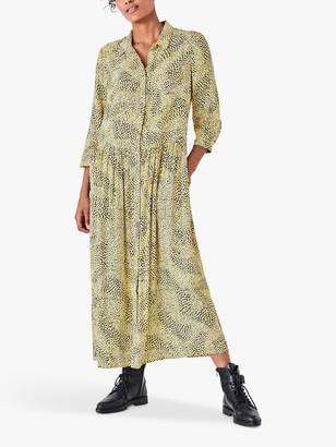 Hush Lianne Abstract Print Maxi Shirt Dress, Yellow
