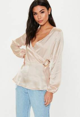 Missguided Nude Long Sleeve Satin Wrap Side Blouse
