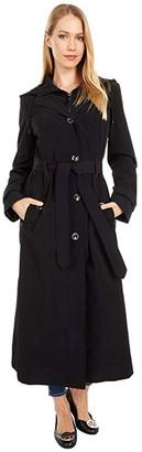 London Fog Long Hooded Rain Trench (Black) Women's Coat