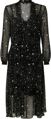 Wallis Black Star Print Tie Neck Midi Dress