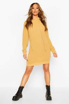 boohoo Hooded Knitted Mini Dress