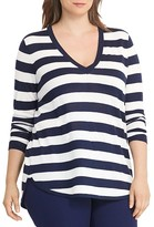 Lauren Ralph Lauren Plus V-Neck Stripe High Low Sweater